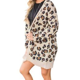 Kadın Chic Sonbahar Kış Leopar Baskı Ceket Örme Bayanlar Gevşek Hırka Dış Giyim Uzun Kollu Sıcak Nefes Ceket nereden