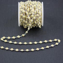 Monedas planas online-6mm, Light Yellow Lampwork Glass Flat Beads redondos en forma de moneda, Alambre envuelto enchapado en plata Enlaces Fabricación de cadenas, 5 metros