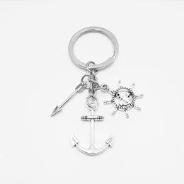 Ruote sterzanti a catena online-2019 Nuovo volante 3D nave, ancora, arco e freccia, portachiavi ciondolo moda mini gioielli, 1PCS catena vita quotidiana chiave