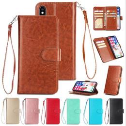 Canada Etui portefeuille en cuir PU 9 cartes Slot Kickstand Strap Flip Cover pour iPhone XS MAX XR X 7 8 Plus Samsung Note 9 S9 Plus J4 J6 J7 2018 OPP Offre