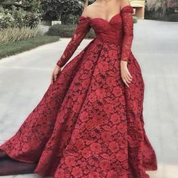 Canada robes de bal en dentelle 2019 manches longues décolleté coeur robe de bal robes de soirée en dentelle robes de soirée rouges robes de soirée arabes Offre