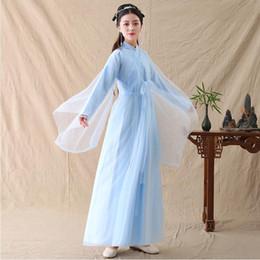 2019 fate luce porcellana Antica Cina Fairy Cosplay Elegante abito fresco Esibizioni di abbigliamento Azzurro Hanfu TV Movie Stage Costume di danza popolare asiatica fate luce porcellana economici