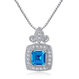 925 Sterling Silver Fine Jewelry 6 * 6mm de Big Stone Luxury femmes pendentif princesse Cut London Blue Topaz pendentif collier Drop Shipping ? partir de fabricateur
