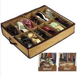 Stockage de chaussures en Ligne-Support de rangement pour organisateur de porte-conteneurs pliable 12 pochettes sous lit