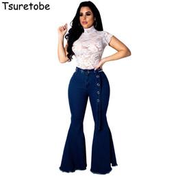 2020 длинные широкие джинсы Tsureobe Casual Flare Jeans Pants Fashion Blue Bell Bottom Skinny Denim Pant Casual Female Pockets Long Wide Leg Trouser Vestido дешево длинные широкие джинсы