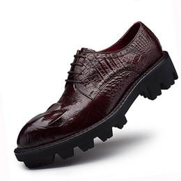 Herren-schuhe dicken gummisohlen online-Dicke Gummisohle Kleid Schuhe Herren Aufzug Schuhe echtes Leder Rotbraun Herren Topsiders Derby Alligatorleder