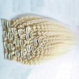 Clip diritta crespa dei capelli nelle estensioni dei capelli umani 120g brasiliano 10pcs di massima Yaki della clip Ins capelli biondi del prodotto Testa piena supplier yaki human hair blonde da yaki bionda capelli umani fornitori