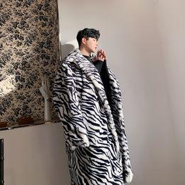 Abrigos de piel de hip hop de hombres online-Patrón hombres Abrigo cebra de piel falsa Abrigo largo masculino mujeres Streetwear Moda Vintage Hip Hop gruesa chaqueta de abrigo