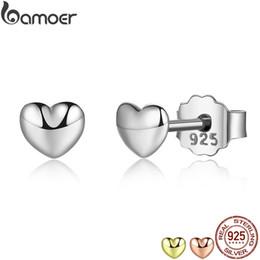 f8cc538de BAMOER 100% 925 Sterling Silver Petite Plain Hearts Stud Earrings for Women  Silver Small Earrings Fine Jewelry brincos PAS441