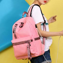 Mochilas cor-de-rosa on-line-New Ombro Casual Bag Bag Estudante USB Tomada de carregamento Nylon rosa Backpack Off branco curso Backpack Meninas Meninos Laptop Dayback