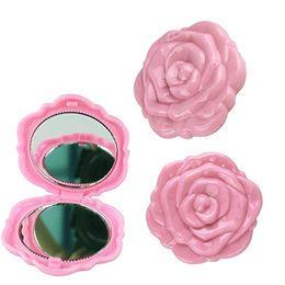 Bolsillo cosmético compacto online-Tamaño de bolsillo de la fiesta de maquillaje espejo retrovisor cosmético compacto de 2 caras vintage 3D