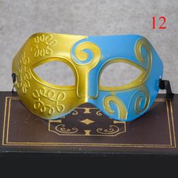 2019 masquerade rosto pintura homens Halloween Criativo Homens Meia Máscara de Plástico Cor Splice Esculpido Spray-paint Masquerade Partido Máscaras de Bola QJ888 masquerade rosto pintura homens barato
