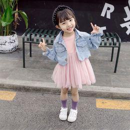 2020 vestido menina cisne Baby Girl Auutmn Set Vestido vestido longo da luva para a menina Swan Imprimir Denim revestimento do revestimento roupa para meninas Costume Roupa Infantil desconto vestido menina cisne