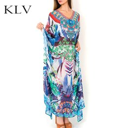 Women's Clothing Womens Summer Chiffon Deep V-neck Beach Dress Ethnic Retro Geometric Floral Printed Bikini Cover Up Semi Sheer Oversized Loose P