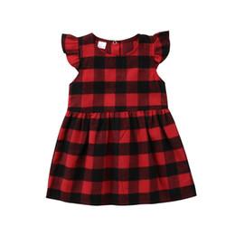 2020 algodão xadrez sundress New Dress Bebés Meninas vermelha da manta de retalhos Checker vestido roupa da criança mangas plissadas Festa de Verão Vestido de Verão Cotton desconto algodão xadrez sundress