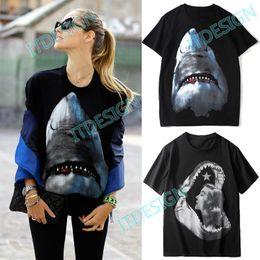 diseño de camiseta de cuello de impresión Rebajas Camiseta con estampado de tiburón Mujer Diseño de moda Cuello redondo Algodón Jersey S / S Camiseta Mujer Verano Ropa Top
