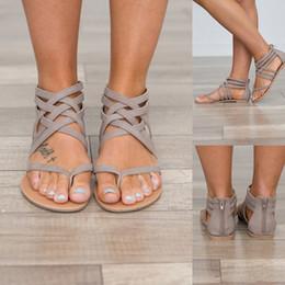 Sapato europeu tamanho 34 on-line-2019 Sapatos de Verão Mulheres Sandálias Apartamentos Europeus Roma Sandálias Gladiador Mulheres Plus Size 34-43 Sandalia Feminina Senhora