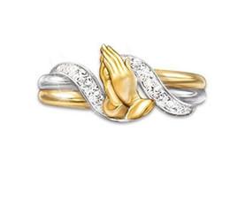 aprire zircone bianco Sconti 1pz Squisita mano zircone anelli doppio oro riempito mani di preghiera taglio zircone bianco anello pregare regali di fascino per le donne