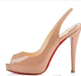 Calidad superior Tamaño Grande 34-44 plataforma Mujeres Tacones Inferiores Rojos Peep Toe zapatos de mujer de charol negro tacón extremadamente alto con caja desde fabricantes