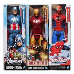 uniformes de combate militares negros Rebajas Los Vengadores Figuras de acción de PVC Marvel Heros 30 cm Iron Man Spiderman Capitán América Ultron Wolverine Figura Juguetes para bebés