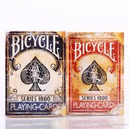 2019 mazos de cartas de bicicleta Venta al por mayor - Bicicleta Vintage Series 1800 Marcado Azul / Rojo Tarjetas mágicas Naipes de póquer por Ellusionist NUEVO Sealed Close Up Trucos de magia mazos de cartas de bicicleta baratos
