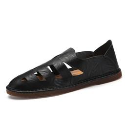 sandali di calzature da uomo Sconti Men Beach Sandals 2019 Nuovi uomini di estate appartamenti di alta qualità mocassini casuali di estate di grandi dimensioni 37-47 Footwear Drop Ship