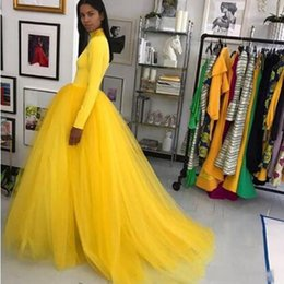 79a9f691e9 Yellow Floor Length Evening Party Dresses 2019 Ball Gown Long Sleeve Satin  Formal Dubai Saudi Arab Long Elegant Formal Prom Gown