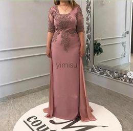 vestido da noiva da mãe do tafetá da forma Desconto Blush Plus Size bainha mãe do vestido de noiva com Overskirt meia manga Sweep Trem Chiffon apliques Mulheres Convidado de Casamento vestidos de noite