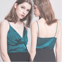 Fuori seta spalla online-t-shirt donna top abiti Top in seta nera per donna camicia senza maniche estiva streetwear sexy in raso off-spalle