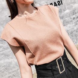 Camisa de malha com costelas on-line-Elegante Sexy Sem Mangas Rib T-Shirt De Malha De Verão Mulheres O Pescoço Curto Casual T-shirt Top Cor Sólida