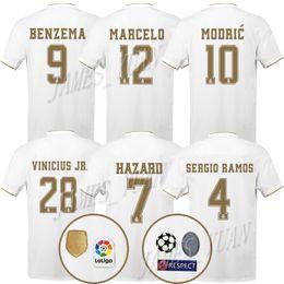2019 Madrid Casa Branco 7 HAZARD BENZEMA BALE ASENSIO Ramos Modric Kroos camisas de futebol 19 20 Homens camisas de Futebol Personalizado uniformes de Futebol de