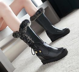 Venta caliente de tamaño 33 a 42 43 cuña de la plataforma botas de diseño de piel botas de diseñador botín, lujoso y acogedor zapatos de boda negro