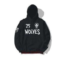 2019 Derrick Rose 25 Sudaderas con capucha negras Hombres Mujeres Sudaderas con capucha impresa Jumper Loose Hip Hop para los fanáticos regalo 1221 desde fabricantes