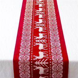 2019 mantel de bandera Navidad Camino de mesa innovador Fiesta Crafts Decoración de algodón y lino Mantel Bandera tabla impresa Cena de los regalos Decor Interior de Hom rebajas mantel de bandera