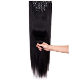 2019 une pièce clip extensions de cheveux blonds 16 pinces en extensions de cheveux pince à cheveux synthétique en 140G 6 pcs / lot postiches résistants à la chaleur longs cheveux de style multiple pour les femmes noires