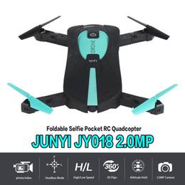 caméra gyro d'hélicoptère Promotion Jy018 Selfie de poche pliable Drone 2.4ghz 6 axes gyro Wifi Fpv 2.0mp caméra G-capteur Altitude Hold Rc Drone Hélicoptère T190621