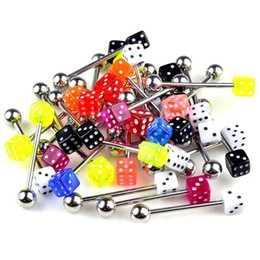 resin body bars Promo Codes - 100pcs Mixed Acrylic Dice Tongue Piercings Stainless Steel Tounge Rings Straight Barbell Bars Piercing Body Jewelry Wholesale