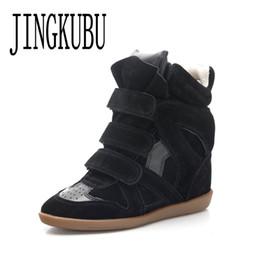 2019 zapatos de encaje de moda JINGKUBU Nueva vaca Botas de ante de las mujeres los zapatos de moda casual para la mujer América y Europa aumentó dentro de los zapatos de la mujer del tamaño grande 35-41