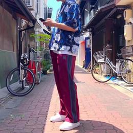 Pantaloni ricamati da donna online-19ss AGHI AWGE pantaloni ricamato farfalla Scivolo pantaloni adattano i pantaloni gli uomini e le donne del progettista dei pantaloni di alta qualità HFWPKZ098