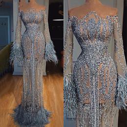 Sexy sehen durch roben online-Durchsichtig Federn Pailletten Abendkleider Dubai Illusion Langarm Robe De Soiree Luxus-Nixe-Abend-Kleider für besondere Anlässe Kleid