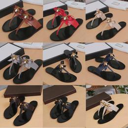 scarpe comode di signore Sconti designer di lusso Infradito Pantofola da donna in vera pelle catena di metallo Sandali da donna scarpe ape pantofola scivoli in metallo comfort piatto scarpe casual