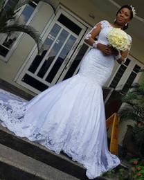 Vintage Lace Mermaid Brautkleider 2019 Mit Langarm Afrikanischen Applikationen Illusion Knöpfe Zurück Sweep Zug Brautkleid robe de mariee von Fabrikanten
