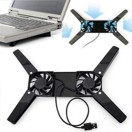 Portátil Laptop Desk suporte Dual Cooling stand Fan Computador Notebook dobrável cremalheira USB Titular Preto Novo de Fornecedores de laptops por menos