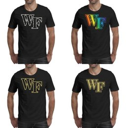 i disegni della maglietta della fascia Sconti Stampa uomo Wake Forest Demon Deacons basket camouflage logo maglietta nera Design Hip hop Band Shirts College Golden Gay pride