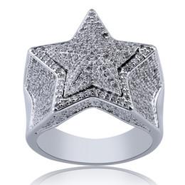 Pentagram de diamante on-line-New Designer de luxo ouro branco 18k CZ Zirconia Pentagrama Anel 2020 Cheia de diamantes para fora congelado Hip Hop Jóias Presentes para Homens Mulheres Anéis M663F