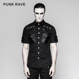 estilo de camiseta de cuero de los hombres Rebajas Punk Rave Punk Rock Moda gótica hermoso Uniforme de cuero Camiseta de manga corta para hombre Estilo de hip hop Streetwear