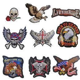 Grandes parches de motocicleta online-PGY Barato Punk Rock Bike Parche Bordado Grande Biker Parche Motocicleta Hierro En Parches Para Ropa Pantalones Vaqueros Chaqueta Chaleco Volver Parche