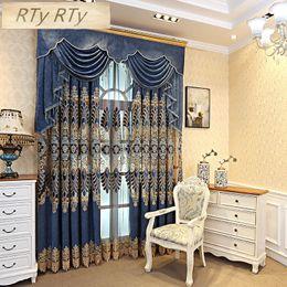 estores estilo casa Desconto Cortinas de luxo situado Jacquard Tulle cortinas marrom para sala de estar pano Blackout para o quarto de decoração para casa cortinas