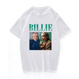 мужская одежда Скидка Футболки Billie Eilish Print 90s Vintage Черная футболка Футболка Мужчины / женщины Топы Футболка из хлопка Повседневная черная уличная одежда