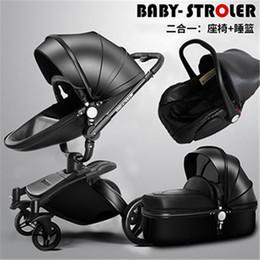 Cesta de dormir online-Envío libre de lujo cochecitos de bebé 3 en 1 cesta de dormir asiento de seguridad del coche de cuero PU recién nacido carro de bebé 0 ~ 36 meses Baby Pram